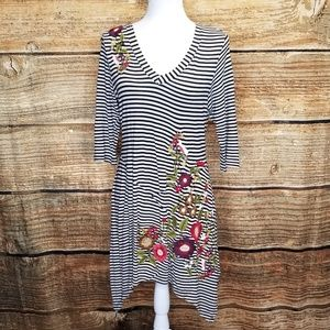 Caite Black & White Striped Embroidered Tunic sz L
